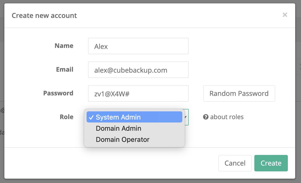 create new account for CubeBackup